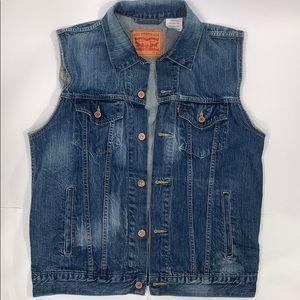 Levi's denim vest size large trucker style